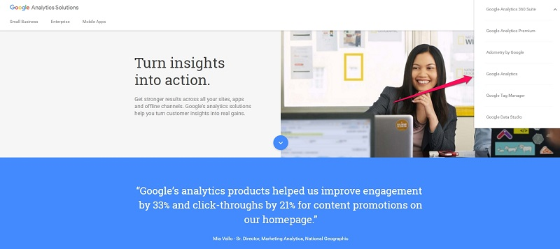 Google Analytics front page