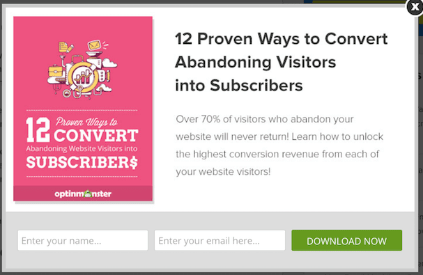 lead generation form showing abandoning visitors into subscribers